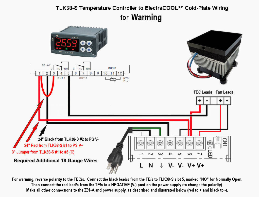 Electracool Tcp100 Thermoelectric Cold Plate From Advanced Power Supply 24vdc Besides 24 Volt Schematic On Wiring Tcp50 And Trlk38 S For Warming
